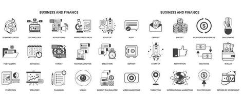 Business icons set for business vector