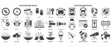 Vacation icons set for business vector