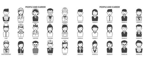 people icons set for business vector