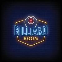 Billiard Room Neon Signs Style Text Vector