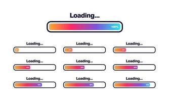 set of Loading bar vector illustration Progress visualization Loading status collection Web design elements Loading Infographic vector template