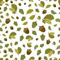 vector de patrones sin fisuras con bellotas y hojas de roble