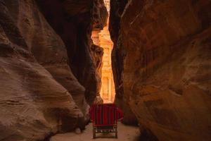 The Siq, the main entrance to Petra in Jordan photo