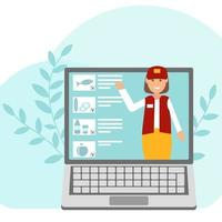 Illustration on the topic online grocery store a girl consultant from a laptop offers flat style products vector