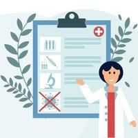Consultant doctor with a prescription for treatment illustration flat style vector