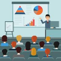 A male teacher holds a conference on the topic economics illustration flat style vector