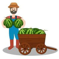 Male farmer with watermelon crop illustration flat style vector