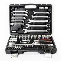 Sharp realistic photo of tool kit isolated on white background