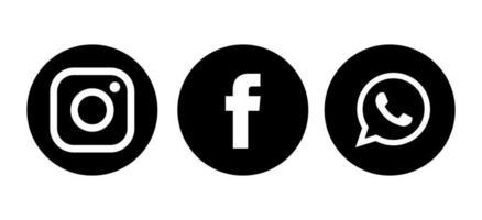 Facebook WhatsApp Instagram app icons and logos vector