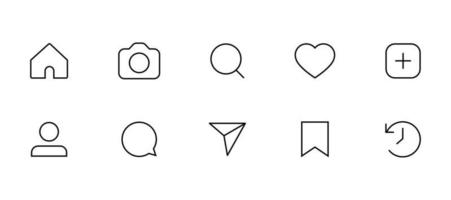 Social media Networking icons like comment share home search send save buttons Flat Interface icon pack vector