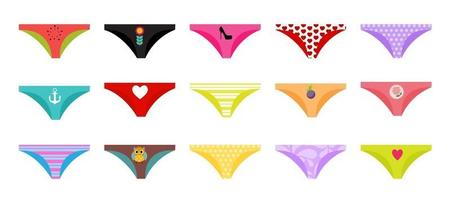 Multicolored Briefs Pants Collection Set Isolated on White Background vector