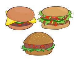 Tasty Ketchup Salad Burger vector