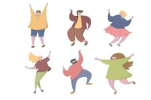 Set of happy people showing various positive position Happy young people dance and jumping Different teenage energetic kids in motion Active schoolchildren having fun Flat vector cartoon illustration isolated on white