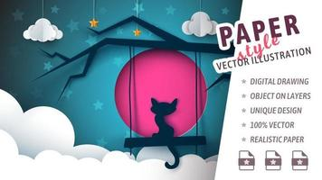 Cut paper style cat and moon with clouds vector