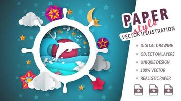 Cut paper style marine theme with dolphin jumping in ship wheel vector