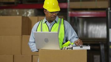 werknemer kijkt naar laptop in verzendmagazijn video
