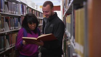 estudiantes universitarios mirando un libro juntos en la biblioteca video
