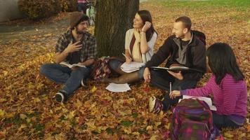 College im Herbst im Freien sitzen und studieren video