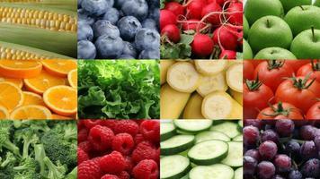 frutas e vegetais frescos, montagem de vídeo video