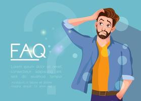 Young man standing near big question symbol and he needs to ask help or advice via live chat help desk or faq Flat concept vector illustration of online support on blue background