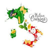 Italian cuisine Italy map vector