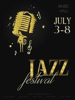 Jazz music festival poster background template Retro microphone with music notes Flyer Vector design