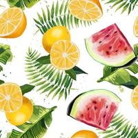 Seamless pattern with tropical leaves watermelons and oranges vector