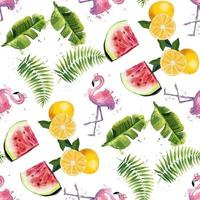 Seamless pattern with tropical leaves watermelons oranges and flamingos vector