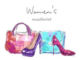 Womens accessories poster Bags and high heeled ladies shoes vector