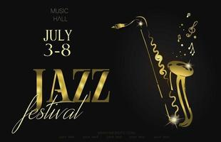 Jazz music festival poster background template Saxophone with music notes Flyer Vector design