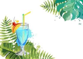 Cocktails Summer tropical cocktail background with palm leaves vector