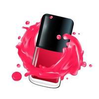 Nail polish in splash Vector illustration