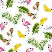Seamless pattern with tropical leaves coconuts bananas and flamingos vector