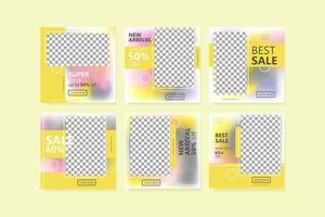 Social Media Post Template Yellow Color vector