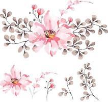 Elegant watercolor flower composition vector