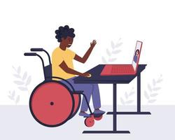 A disabled African American man communicates with a girl he knows through video communication vector