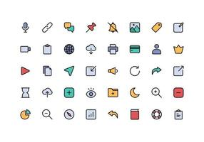 User Interface Essentials Line Color Style Icon Set vector