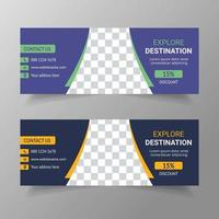 Travel and Holiday social media post template design vector