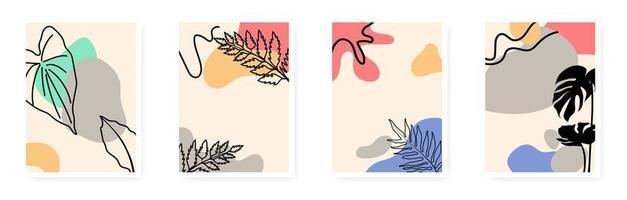 Minimal and natural botanical wall art Foliage line art vector drawing with abstract shape Botanical wall art vector set