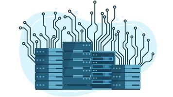 Tecnología de concentrador de servidores informáticos en muchos estilos tecnología bitcoin concepto en línea de criptomonedas vector