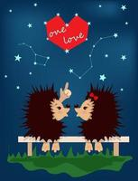 vector image of hedgehogs in love under the starry sky