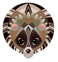 Vector image of lemur in geometric style inscribed in a circle