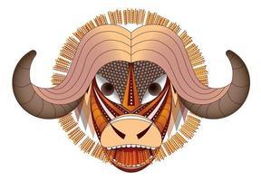 Vector image large horned animal geometric buffalo