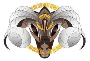 Large horned animal geometric interpretation RAM vector