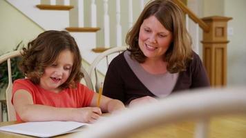 mamma som hjälper dotter med läxor video