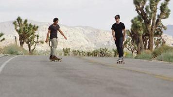 jóvenes en patineta por una carretera video