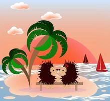 Vector image of hedgehogs on the sea