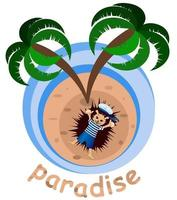 Vector image of a hedgehog on an island under a palm tree