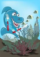 vector image shark which was going to eat hearty