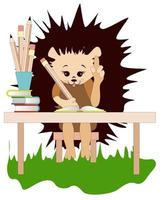 Vector image of a hedgehog at the table